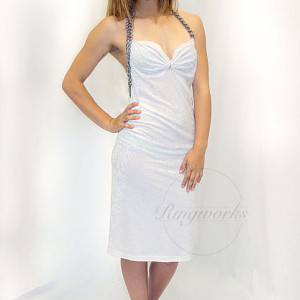 White Crushed Velvet Cocktail Dress copy SMALL